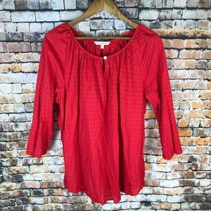 Croft & Barrow Red Peasant Top